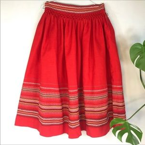 Red Bavarian Wool Skirt Embroidery Smocking 8
